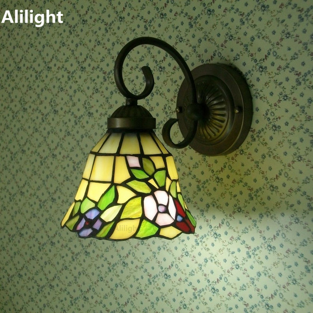 Tiffany Style Wall Lamp Stained Glass Garden Night Lighting Sconces ...