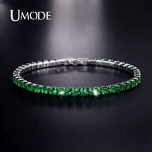 UMODE Charm Bracelets For Women Simulated Emera Crystal Bracelet Brand Jewelry Fashion Christmas Gifts Pulseira FemininaAUB0097B