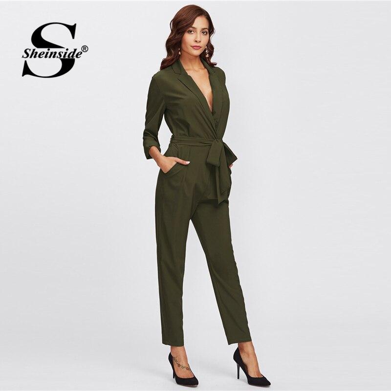 982712853a2c Sheinside Army Green Long Sleeve Workwear Jumpsuit Office Ladies Mid Waist  Belted Pocket 2018 Women Autumn Elegant Jumpsuits