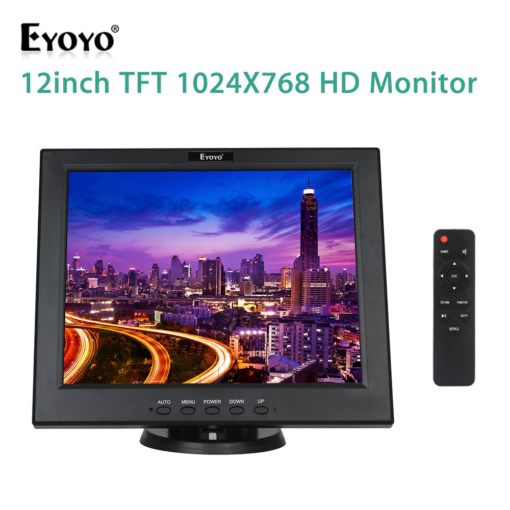 EYOYO 12 inch TFT LCD Monitor Screen 4:3 1024*768 HDMI Video Audio With Remote for CCTV DVR DVR CCD FPV Free HDMI Adapter fpv 4 3 inch tft lcd monitor screen for rc models