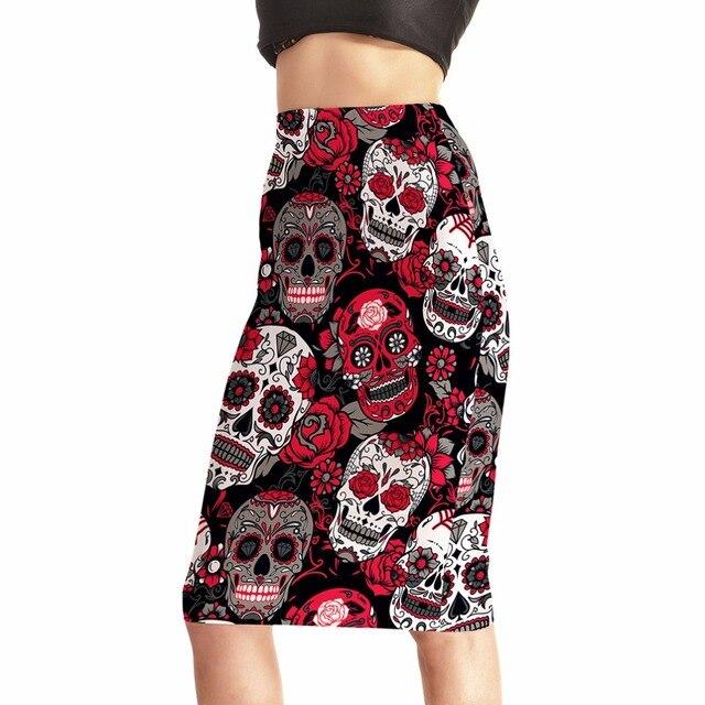 Skirts Fashion Rose Skull Evil Funny Women s Sexy 3D Skirts High Waist  Package Hip Skirt Saia Midi Free Shipping ff1792fa7640
