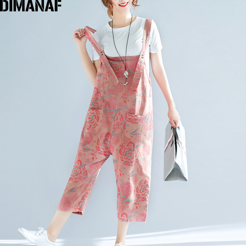 DIMANAF Women Plus Size   Jumpsuits   Harem Pants Loose 2018 Spring Summer Oversized Casual Female Print Floral Pink Girls Trousers