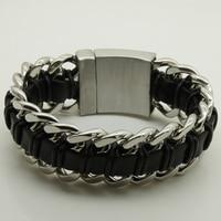 3cm 9'' heavy & width men/boy cool motorcycle 316L stainless steel bracelet