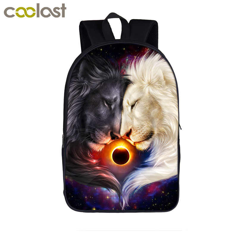 d97dcaf86d9 Cool Galaxy Lion Backpacks Day Night wolf Backpack For Teenage Boys ...