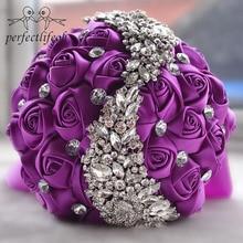 Perfectlifeoh Свадебные цветы Свадебные букеты красная искусственная Роза роскошный со стразами Букет Свадебные шикарные невесты Ramo