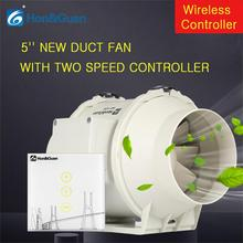5 220V Air Extractor Mixed Flow Muffler Conduit Fan with Two Speed Wireless Controller Fans For Kitchen Bathroom