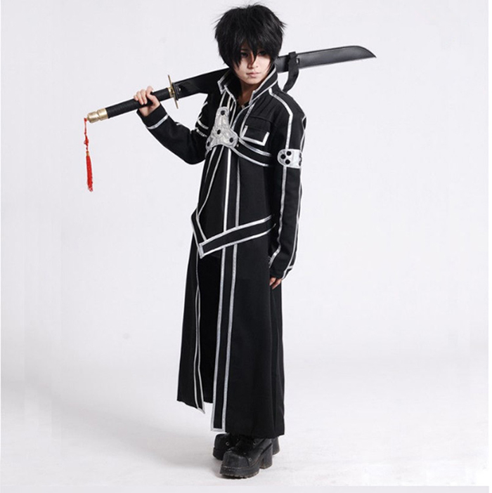 Image 2 - Sword Art Online SAO Kirito Kirigaya Kazuto Robe Cosplay Costumes Long Overcoat Trench Coat ( Cloak + Belt + Shoulder straps )-in Anime Costumes from Novelty & Special Use