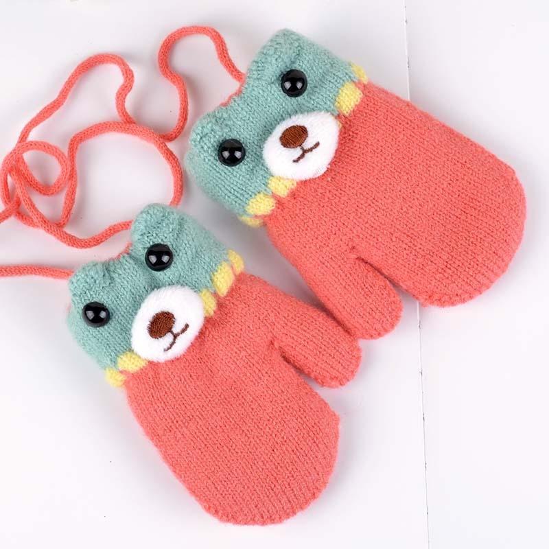 Bear Winter Baby Gloves Cartoon Warm Kids Mittens Knitted Cotton