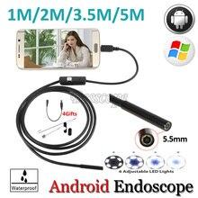 Len android-телефон инспекции бороскоп змея эндоскопа труба гибкая otg android камеры