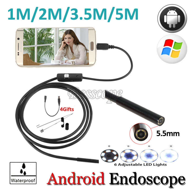 High Quality 5.5mm Len 5M Android OTG USB Endoscope Camera Flexible Snake USB Pipe Inspection Android Phone USB Borescope Camera len e82ev series e82zbc