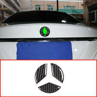 Real Carbon Fiber Rear Tail Door Logo Stickers For Mercedes Benz C Class W205 2016-2019 Accessories