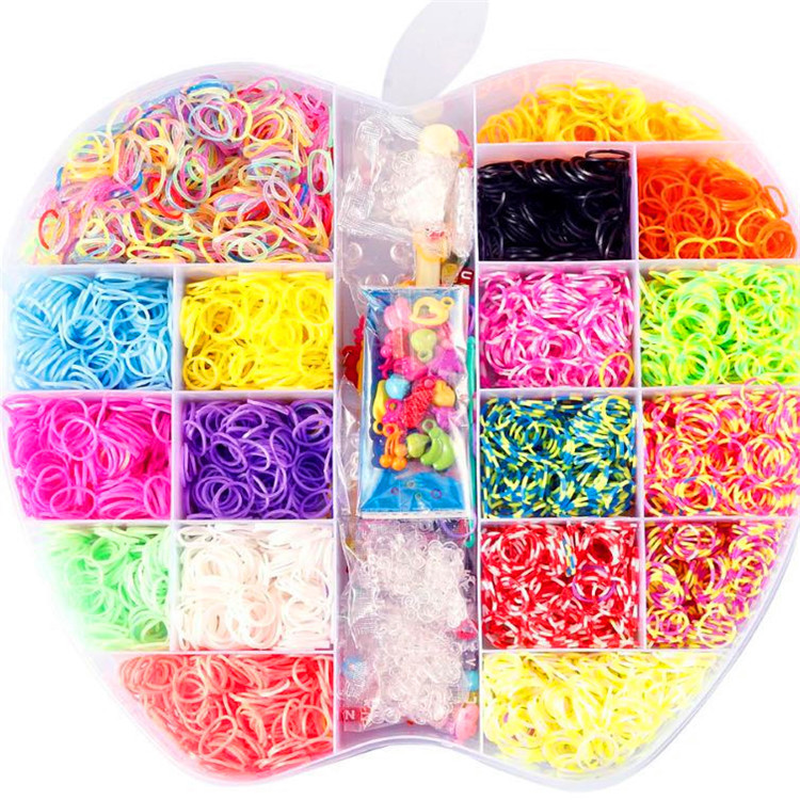 6000pcs 18color Loom Rubber Bands Toys For Children Diy Lacing Bracelet Band Toy 2019 Girls Gift Big Apple Set Box DIY Materials