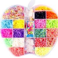 6000pcs 18color Loom Rubber Bands Toys For Children Diy Lacing Bracelet Band Toy 2019 Girls Gift Big Apple Set Box DIY Materials