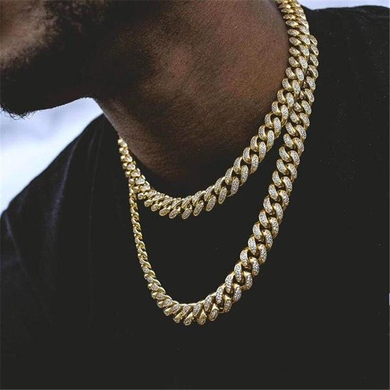Miami curb strass cubana chain ouro gelado para fora pavimentado cz bling rapper colares masculino hip hop jóias