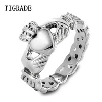 TIGRADE Polished Stainless Steel Claddagh Ring Women Heart Celtic Knot Wedding Band Engagement Promise Rings For
