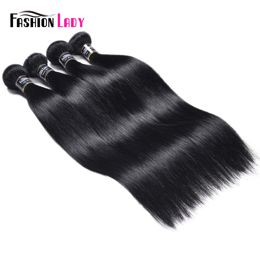 FASHION LADY Pre-Colored Brazilian Hair Weave Bundles 1# Dark Black Straight Hair Weaving 100% Human Hair 4 Bundles Non-Remy