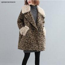 4f41e674bbfa Faux fur coats women winter thick warm leopard print jacket sherpa lamb fur  patchwork wool coats