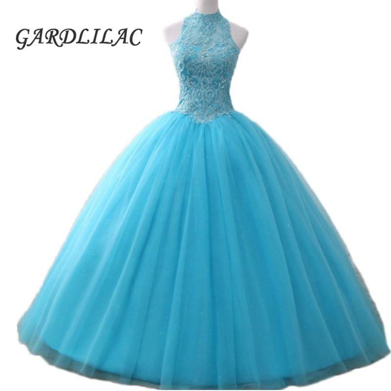 Ball Gown Turquoise Quinceanera Dresses Halter Appliques Vestido de debutante Prom Dress 2019 vestidos de 15 anos quinceanera