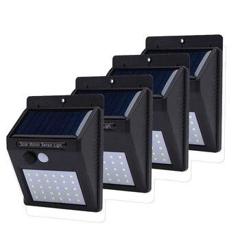 4pcs 30 LEDs Solar Light Solar Powered PIR Motion Sensor Wireless Solar Lamp Waterproof Outdoor Garden Yard Wall Lamp LED Light