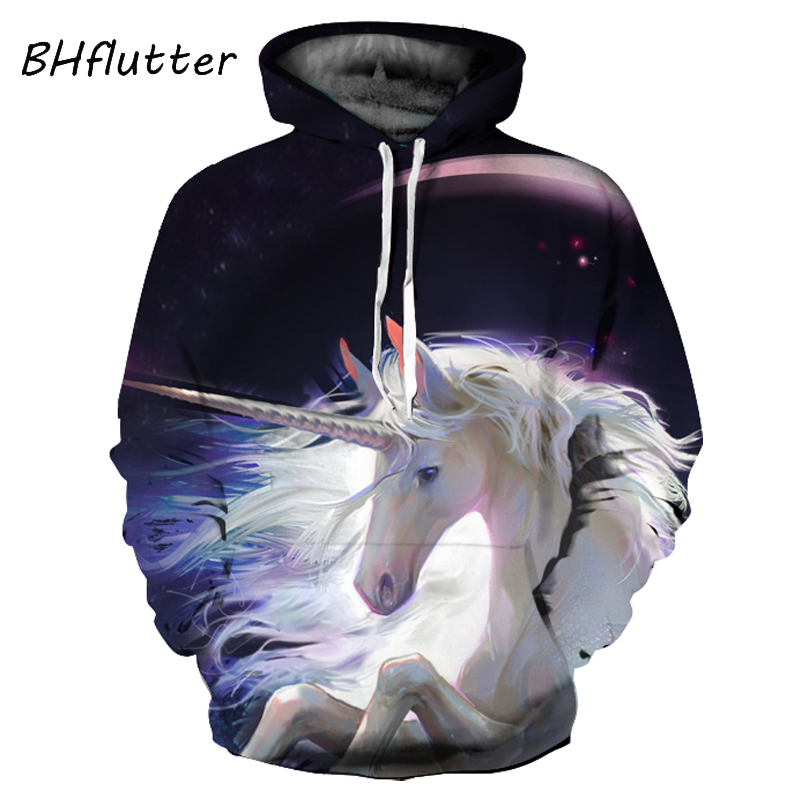 BHflutter Women Hoodies and Sweatshirts 2018 Fashion Unicornio Print Hooded Pullovers Autumn Winter Casual Sweatshirt Streetwear