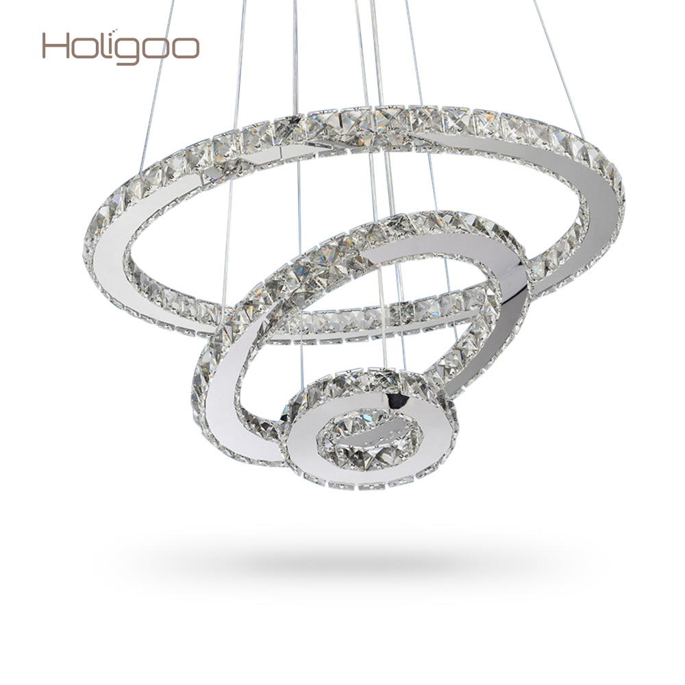 Holigoo LED Crystal Chandelier Lights Cristal Lustre Chandeliers Lighting Pendant Hanging Ceiling Fixtures For Home Living Room led crystal chandelier lighting decorative chandelier for wedding led wedding light curtain hanging crystal chandeliers