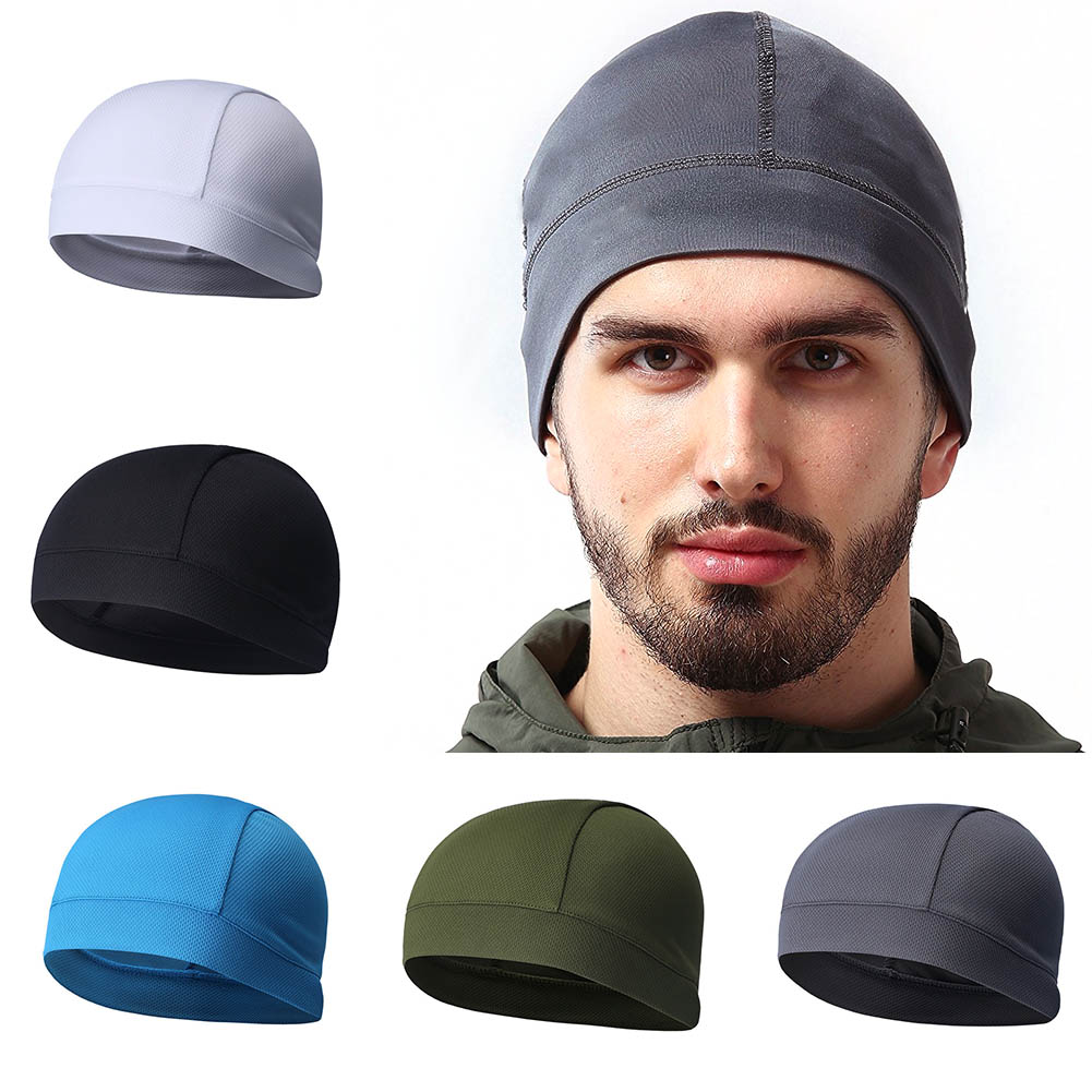 Summer Men Cap Elastic Breathable Absorb Sweat Solid Color Headband For Outdoor Sport Cycling Running Riding Hat ALS88