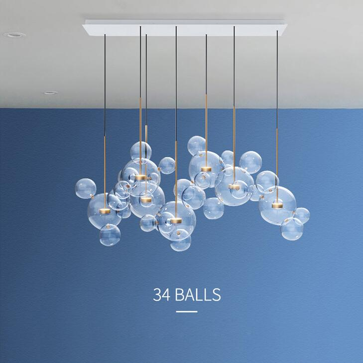 LED Postmoderne Nordique Fer Bulles De Verre Lustre Design. Lustre lampe LED lampe à LED Pour Salle à manger Hall