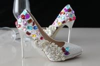 Crystal Shoes Wedding Shoes Pearl Bridal Shoes Diamond Rhinestone Handmade Silver Thin Heels High Heeled Pointed
