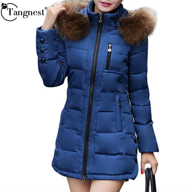 TANGNEST 2016 Women Winter Cotton Coat Plus Size Faux Fur Hooded Causal Slim Solid Zipper Warm Plus Size Long Coat Parkas WWY249