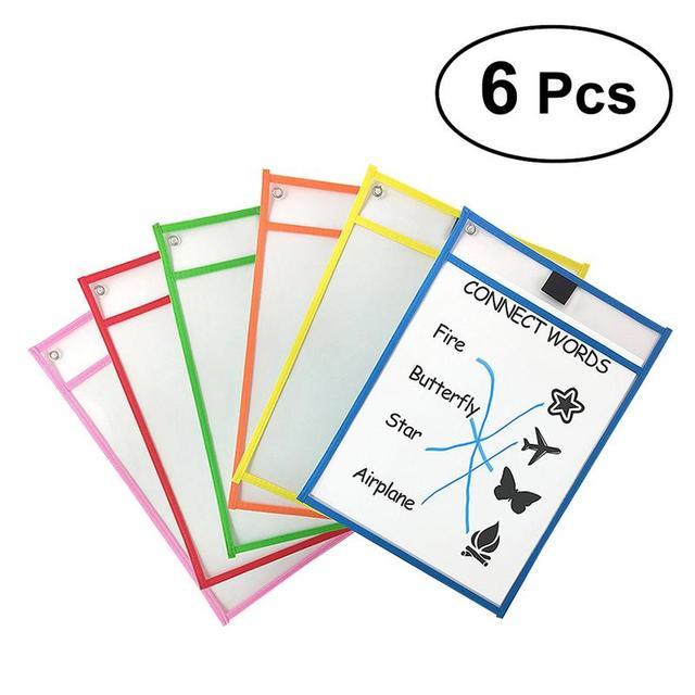 Niños transparente escribir y limpiar bolsillos reutilizables borrado en seco bolsillos mangas 6 colores surtidos con soporte de pluma suministros de almacenamiento