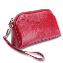 Klsyanyo Luxury Genuine Leather Women Bag Zipper Long Wallet Soft Handbag Ladies Fashion Clutch Makeup Cosmetic Neceser Bag