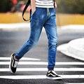 Новый 2016 Модный Бренд Мужские Джинсы Синий Серый Вскользь Уменьшают Подходящие узкие Джинсы Мужчины Байкер Джинсы Брюки Шнурок Бегунов Большой 5XL