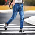 New 2016 Fashion Brand Mens Jeans Blue Gray Casual Slim Fit Skinny Jeans Men Biker Denim Jeans Pants Drawstring Joggers Big 5XL