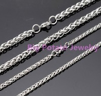 Wholesale 5 10pcs Fashion 316L Stainless Steel Silver Material Braided Chain DIY 3 4MM Men Women