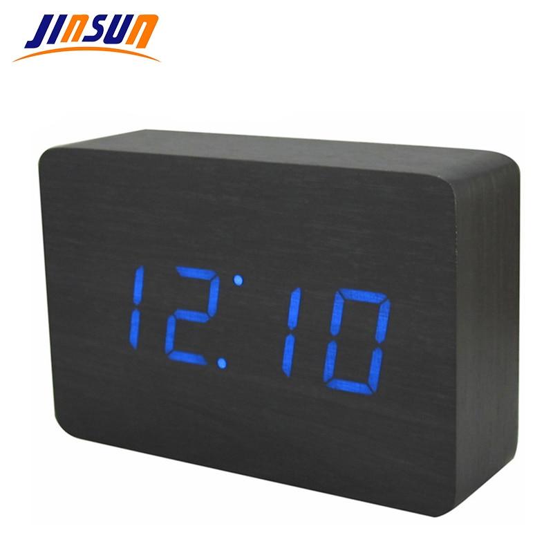 JINSUN Lätt väckarklocka Digital ljudkontroll LED-skärm Trä - Heminredning