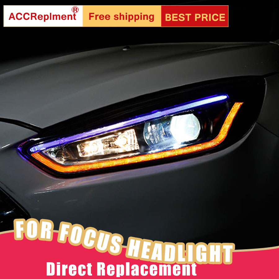 2Pcs LED Headlights For Ford Focus 2015 2018 led car lights Angel eyes xenon HID KIT