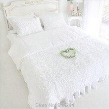 De punto de algodón rosa pastel de la colmena coreana 4 unids Queen Luxury sólido cama bedskirt princesa de algodón acolchado ropa de cama