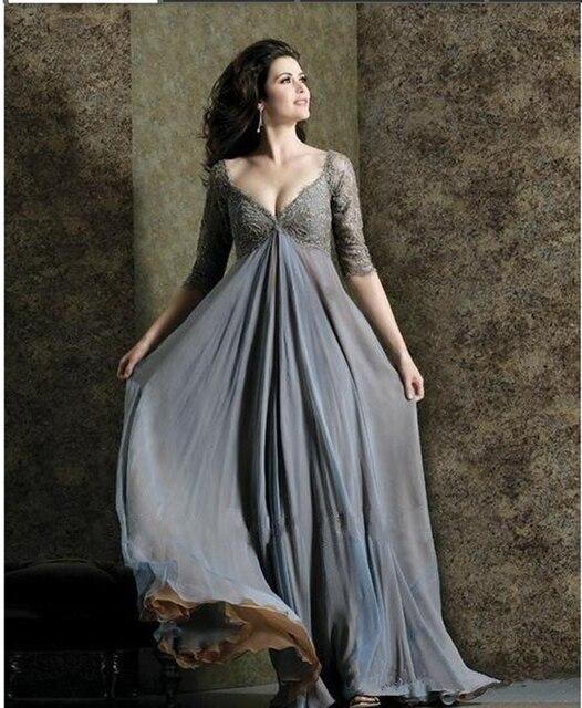 c08860492dd0d Chic Plus Size Lace Mother Of The Bride Dresses A Line V Neck Empire ...