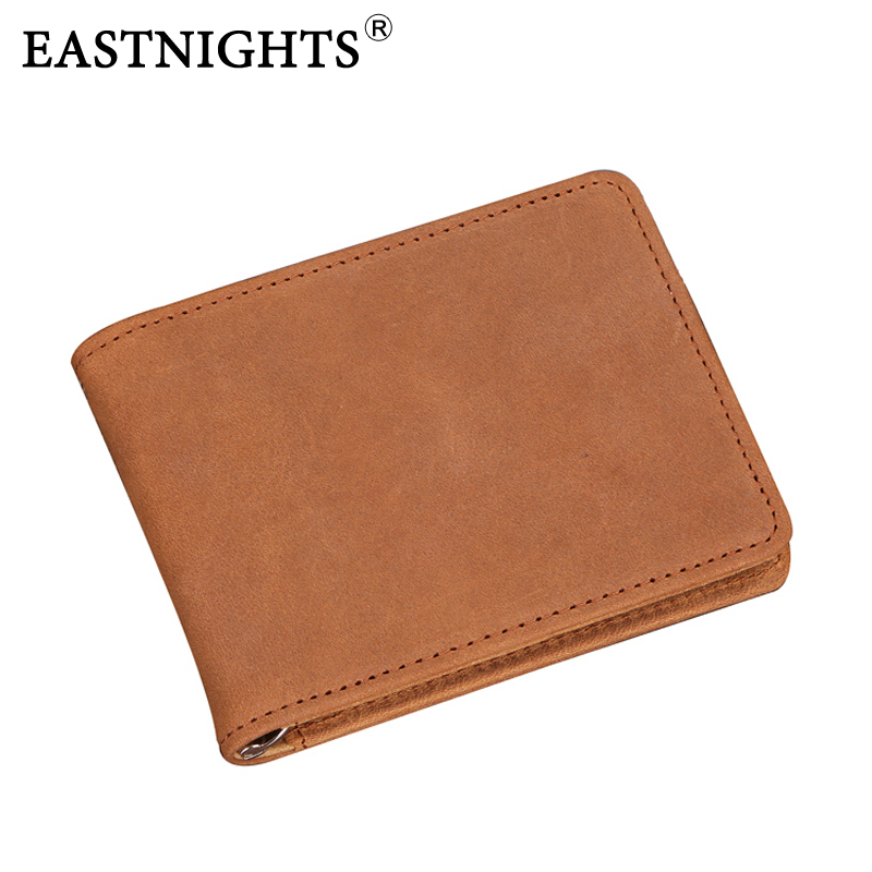 EASTNIGHTS Free Shipping leather wallets High quality New Men's wallet Genuine Leather Pockets Men Purse card holder 1601 manbang 2017 new wallet genuine leather men wallets short male purse card holder wallet men fashion high quality free shipping