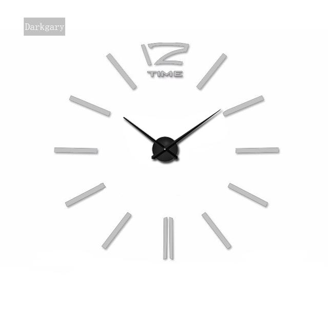 2017 New  Wall Clock Creative Modern Sticker Unique black Big DIY 3D Digital Mirror Art Wall Clocks Home Decoration Freeshipping