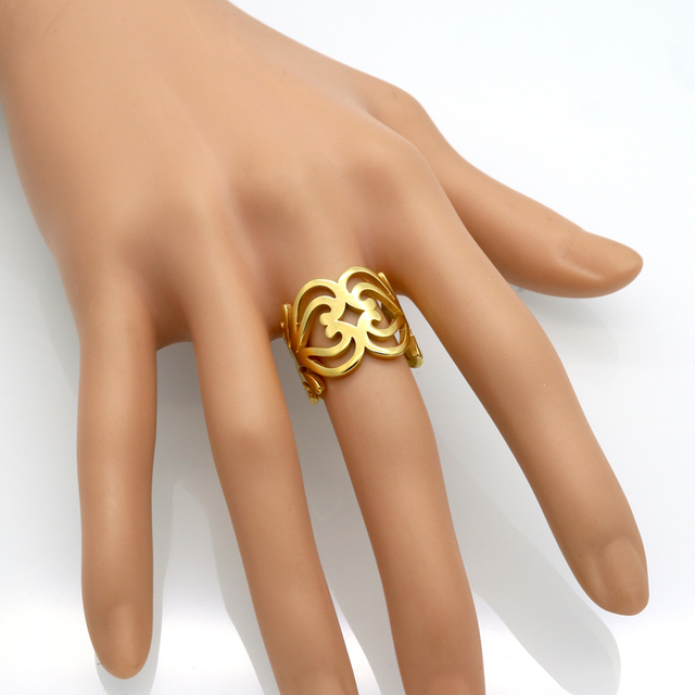 Brand Anillos Stainless Steel Gold Color Love Knot Hollow Heart