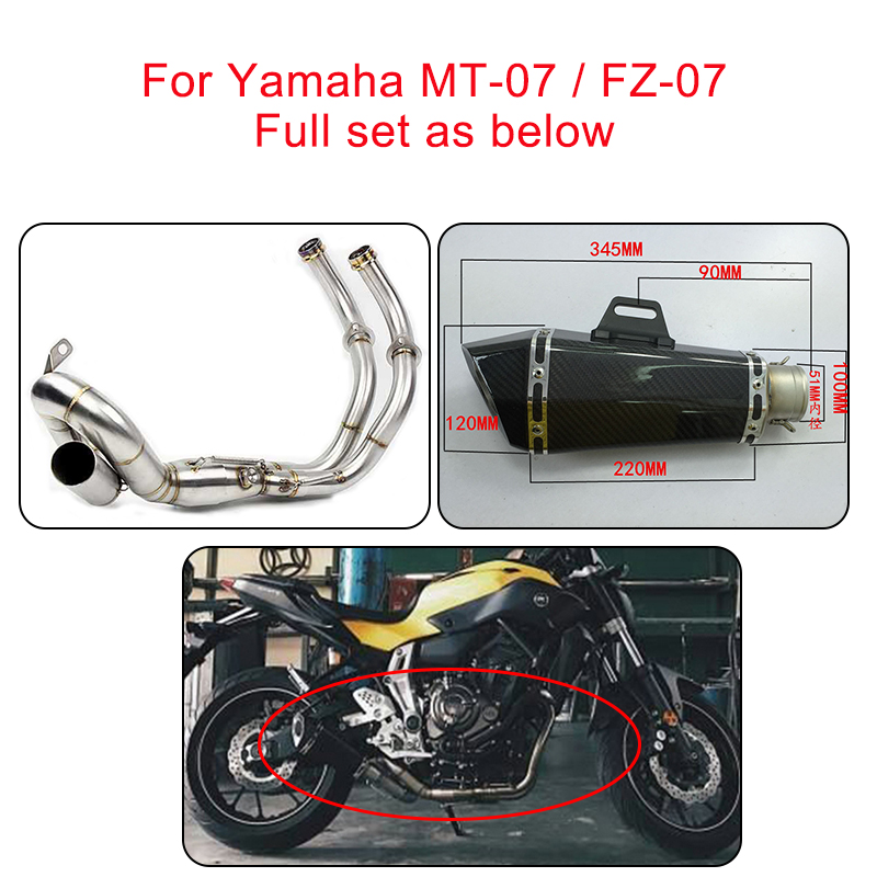 MTCLUB Motorcycle Full Set Muffler Exhaust System For Yamaha MT-07 FZ-07 MT07 FZ07 MT FZ 07 XSR700 2013 2014 2015 2016 2017 free shipping motorcycle mt07 fz07 new coolant recovery tank shielding cover for yamaha mt 07 fz 07 mt fz 07 2014 2015