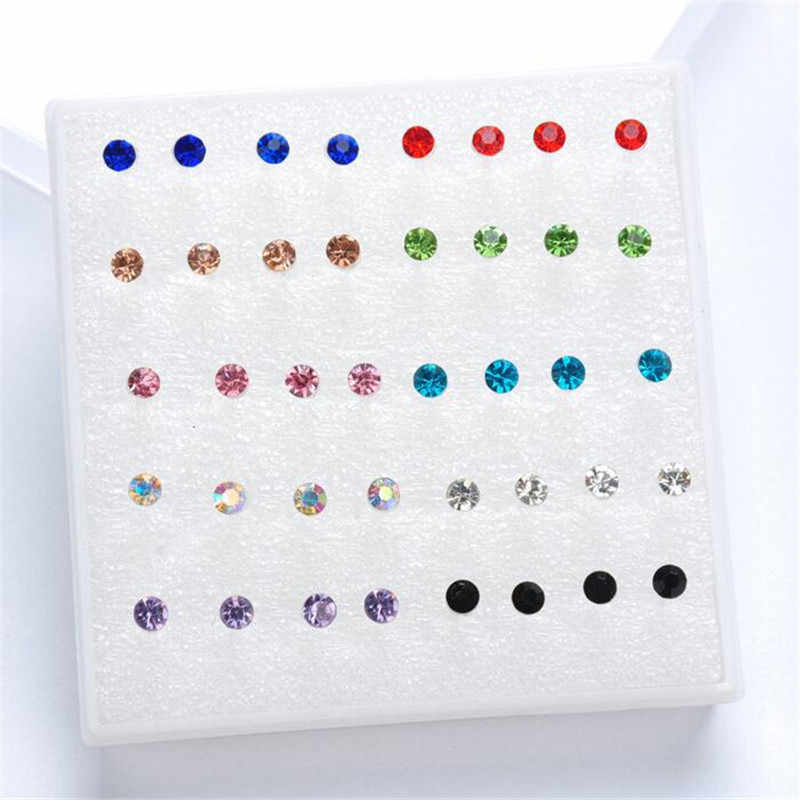 20 pairs/set crystal Stud Earrings colorful fashion earring for women jewelry silver color piercing 2mm