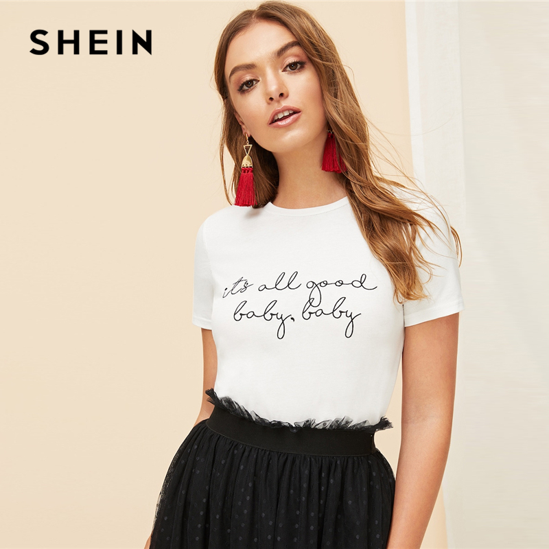 54e0980315 SHEIN White Slogan Letter Print Solid Slim Fitted Tee Short Sleeve Round  Neck T Shirt Women