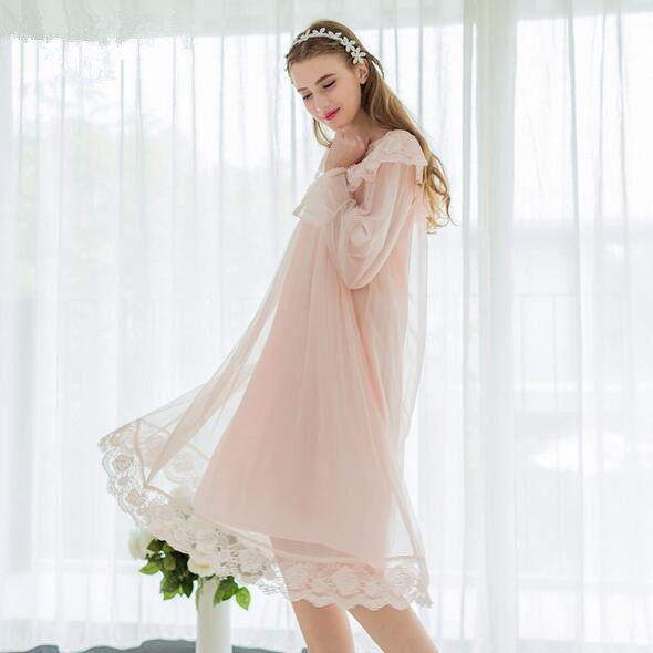New autumn Palace Women's long Nightgown lace crochet Sleepwear Two Pieces Set Princess Nightdress T661