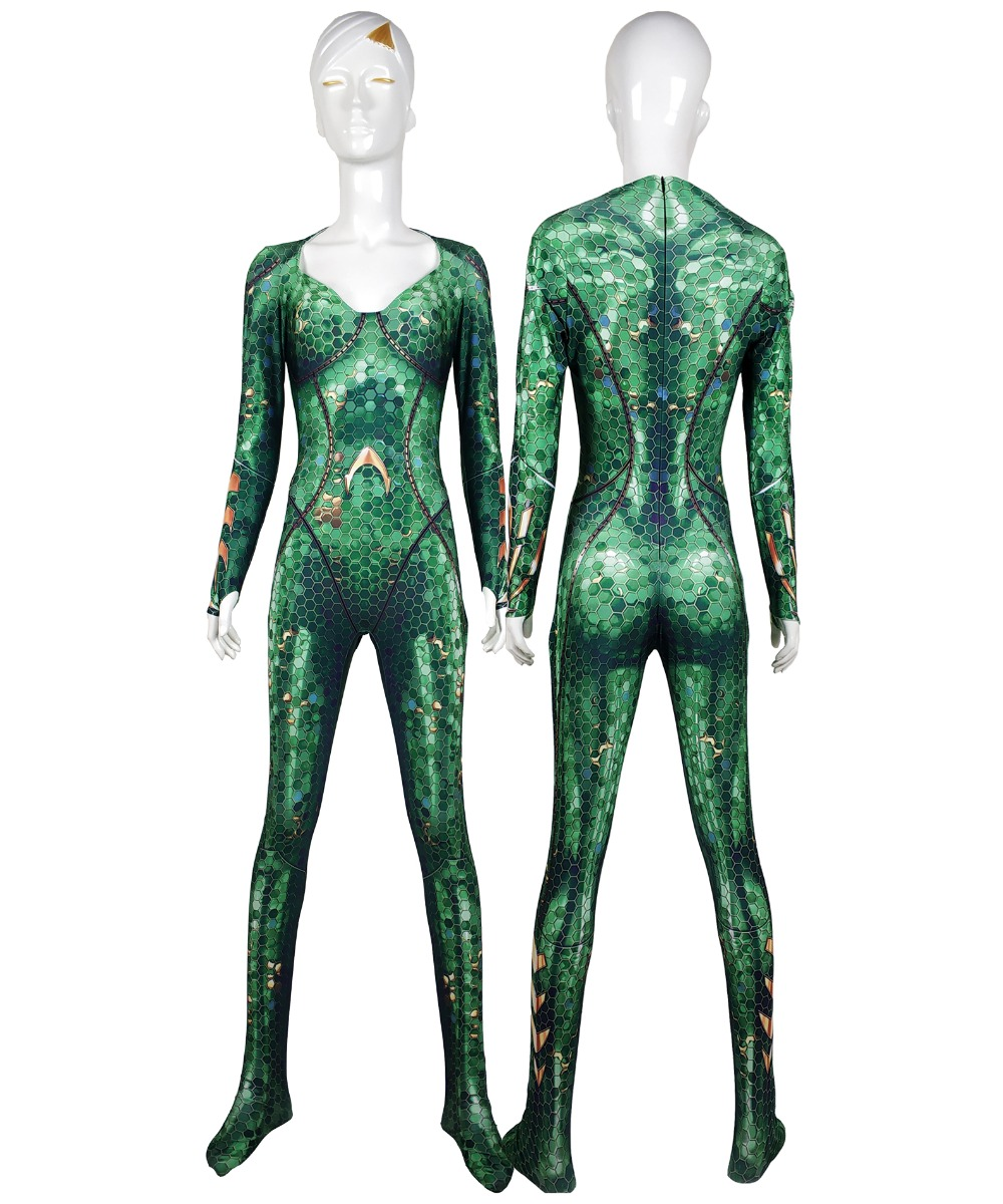 Mera Costume Aquaman Film Version Mera Cosplay Bodysuit 3D Imprimer Lycra Spandex Zentai costume Halloween Party suit