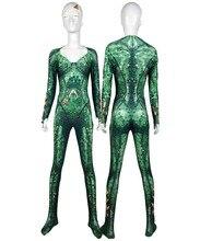 Mera Costume Aquaman Film Version Mera Cosplay Bodysuit 3D Imprimer Skin Spandex Zentai costume Halloween Party suit