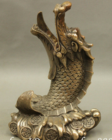 6 Chinese FengShui Bronze Copper Exorcism Dragon Fish On Wealth Coin Statue Set