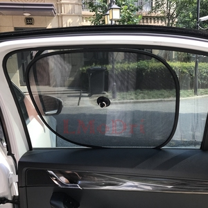 Image 4 - LMoDri 2Pcs Auto Vorhänge Sonnenschirm Blocker Schwarz UV Mesh Sonne Shades Für Front Seite und Hinten Fenster Auto Styling sucker 44*34cm