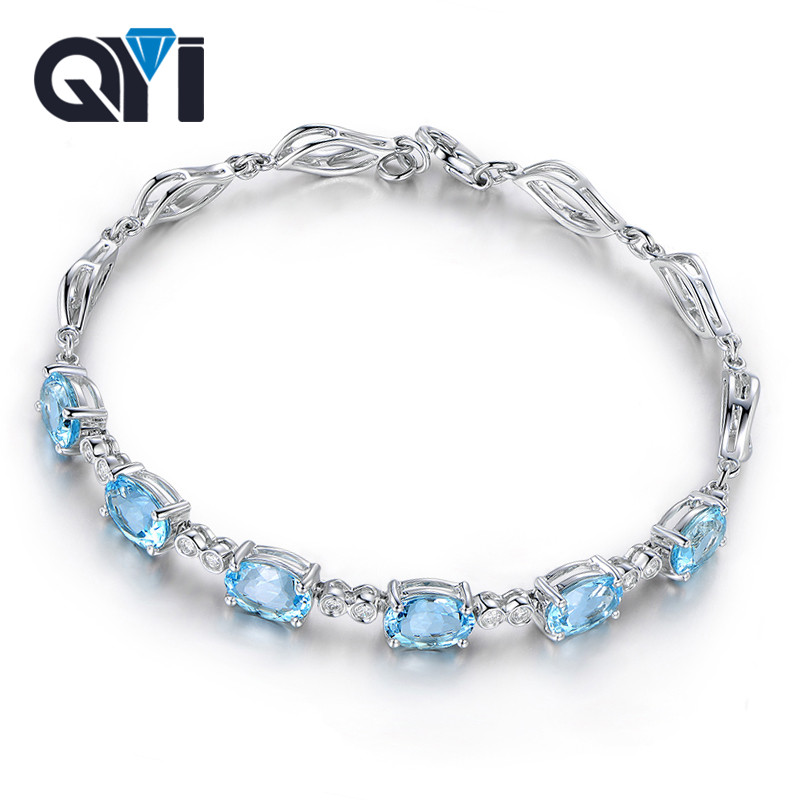 QYI 45 ct Oval cut 925 Sterling Silver Bracelets Natural sky Blue Topaz Gemstone Bracelets For Women Color Gems Wedding gift
